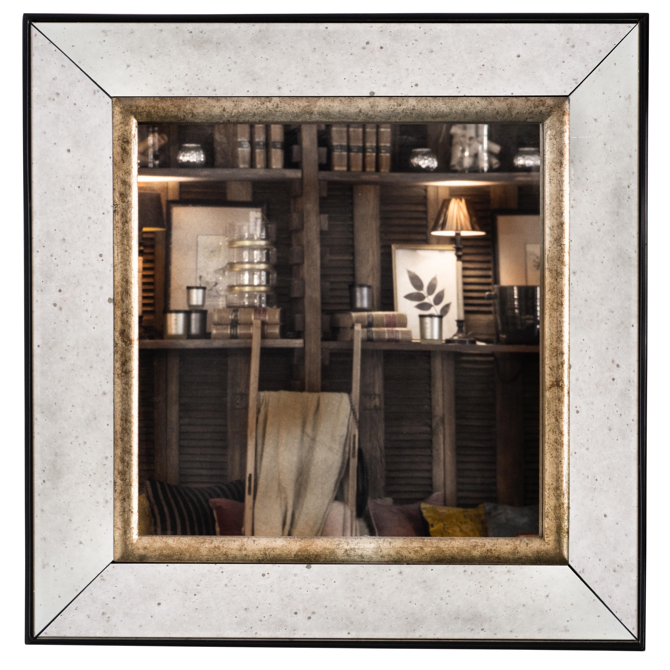 Espejo cuadrado biselado sandra marcos interiorismo for Espejo envejecido