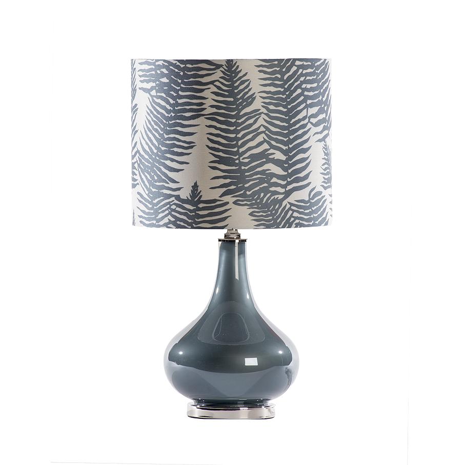 L mpara de mesa azul con pantalla de hojas a juego sandra marcos interiorismo - Pantallas de lamparas de mesa ...